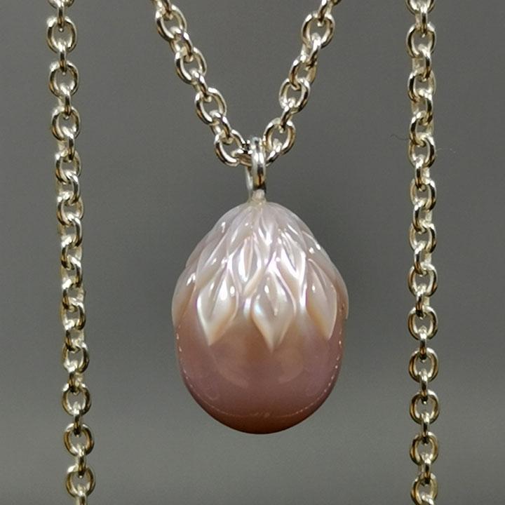 Morandin Kette Silber Gravierte Perle